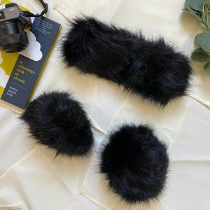 Fur headband and wrist cuffs